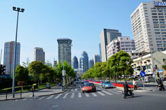 City intersection. Taken in Shanghai, May 5, 2013 Stock Photos