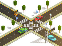 City Intersection Traffic Navigation Isometric View Stock Images
