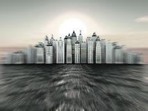 City on island. Three-dimensional background Royalty Free Stock Photography