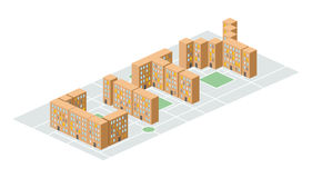 City. Isometric building in the form of letters. Yard people liv Stock Images