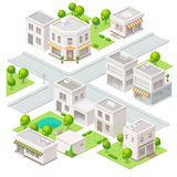 City isometric buildings. Set of the vector elements Stock Photography