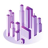City isometric concept with multi storey office or apartment buildings in gradient violet color. City isometric concept with multi storey office or apartment Royalty Free Stock Photo