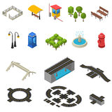 City Isometric Icons Set Royalty Free Stock Images
