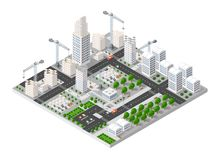 City isometric industry. There are diagram, building, road, park, transportation and crane in the area of the town with the business conceptual graphs and vector illustration