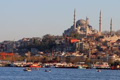 City of Istanbul. At the Bosporus with boats bridges and mosques Royalty Free Stock Photos