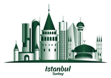 City of Istanbul Turkey Famous Buildings. Editable Vector Illustration royalty free illustration