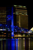City of Jacksonville, Florida at night. Night scene of the city of Jacksonville, Florida at night with lights from the main street bridge and all the buildings Royalty Free Stock Photo