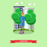 City janitor concept vector illustration. Man cleaning street Stock Images