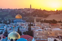 City of Jerusalem, Israel. Cityscape image of Jerusalem, Israel with Dome of the Rock at sunrise Stock Photos