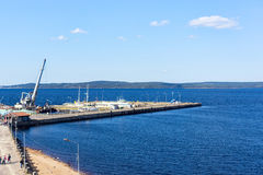 City jetty on Lake Onego. City pier of Petrozavodsk on Lake Onego Royalty Free Stock Photos