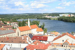 City Jindrichuv Hradec with pond Vajgar Stock Images