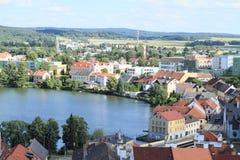 City Jindrichuv Hradec with pond Vajgar Royalty Free Stock Image