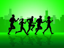 City Jogging Shows Get Fit And Sprint Royalty Free Stock Image