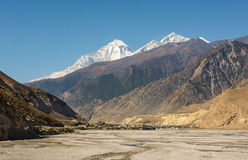 City of Jomson under snow covered peaks. Royalty Free Stock Images