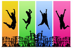 City Joy. People jumping with joy over city background Royalty Free Stock Photography