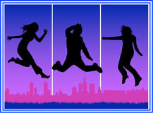 City Jumping People. Vector work Royalty Free Stock Images