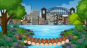 City and jungle background scene. Illustration vector illustration