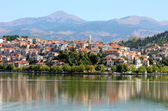 City Kastoria and Lake Orestiada Royalty Free Stock Photography