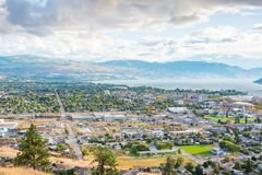 City of Kelowna in autumn viewed from Knox Mountain. View of city of Kelowna and Okanagan Lake from Knox Mountain viewpoint autumn Royalty Free Stock Image