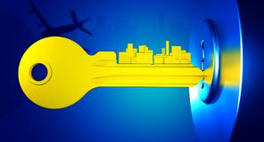 Real Estate City. Key with teeth in the shape of city skyline Stock Photos