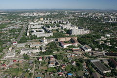 The city of Khabarovsk a kind from the helicopte . Cityscape of shooting from the helicopter Royalty Free Stock Images
