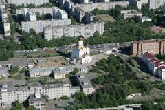 The city of Khabarovsk a kind from the helicopte Stock Photography