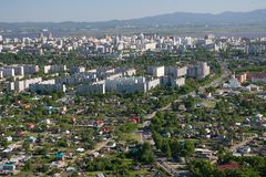 The city of Khabarovsk a kind from the helicopte Stock Photos