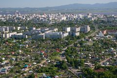 The city of Khabarovsk a kind from the helicopter. Stock Image