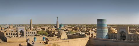 City of Khiva. Panorama of an ancient city of Khiva, Uzbekistan stock image