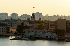 City of Kingston in Ontario at dusk. Waterfront buildings in Kingston, Ontario at dusk stock image