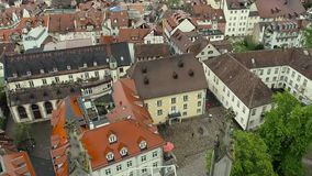 The city of Konstanz. The view from the heights of the old town of Konstanz. The video shows the old houses, narrow streets and a. Lot of red roof tiles. HD stock footage