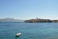 City of Korcula. (Croatia) as seen from water Royalty Free Stock Photo