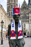 City Kosice, Slovakia during IIF World championship, 2019. KOSICE, SLOVAKIA - MAY 11: Statue in centre of city with Slovak fan clothes during 2019 IIHF World stock photos
