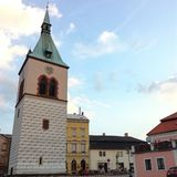 City of Kourim. Church's tower in the city of Kourim Stock Images