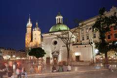 City of Krakow Old Town by Night in Poland Royalty Free Stock Images