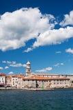 The city Krk. The building on coast of city Krk - Croatia stock photography