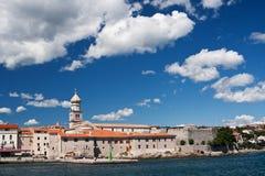 The city Krk. The building on coast of city Krk - Croatia stock image