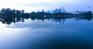 The city of Kuala Lumpur from Titiwangsa lake Stock Image