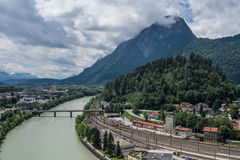 The city Kufstein in Tyrol on river Inn, Austria.  stock photos