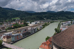 The city Kufstein in Tyrol on river Inn, Austria.  stock images