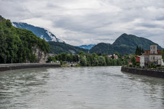 The city Kufstein in Tyrol on river Inn, Austria.  stock photo