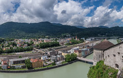 The city Kufstein in Tyrol on river Inn, Austria.  royalty free stock photography