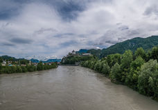 The city Kufstein in Tyrol on river Inn, Austria.  royalty free stock photos