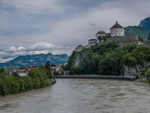 The city Kufstein in Tyrol on river Inn, Austria.  royalty free stock images