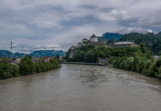 The city Kufstein in Tyrol on river Inn, Austria.  royalty free stock image