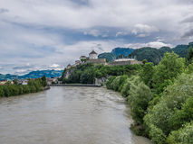 The city Kufstein in Tyrol on river Inn, Austria.  stock photography