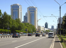 City Kyiv Ukraine. Modern new houses on the Victory Avenue in Kiev in Ukraine Royalty Free Stock Photography