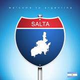 The City label and map of Agentina In American Signs Style. An Sign Road America Style with state of Agentina with blue background and message, SALTA and map Royalty Free Stock Photos