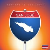The City label and map of Costarica In American Signs Style Stock Photos