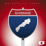 The City label and map of Japan In American Signs Style. An Sign Road America Style with state of Japan with Red background and message, SHIMANE and map,  art Stock Photography